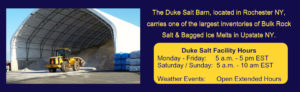 The Duke Company's Salt Barn in Rochester NY Carries one of the most extensive ranges of Rock Salt and Bagged Ice Melts v3
