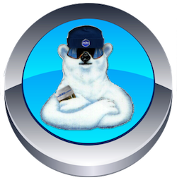 Picture of Blue Button with Polar Bear for Rock Salt & Ice Control HQ