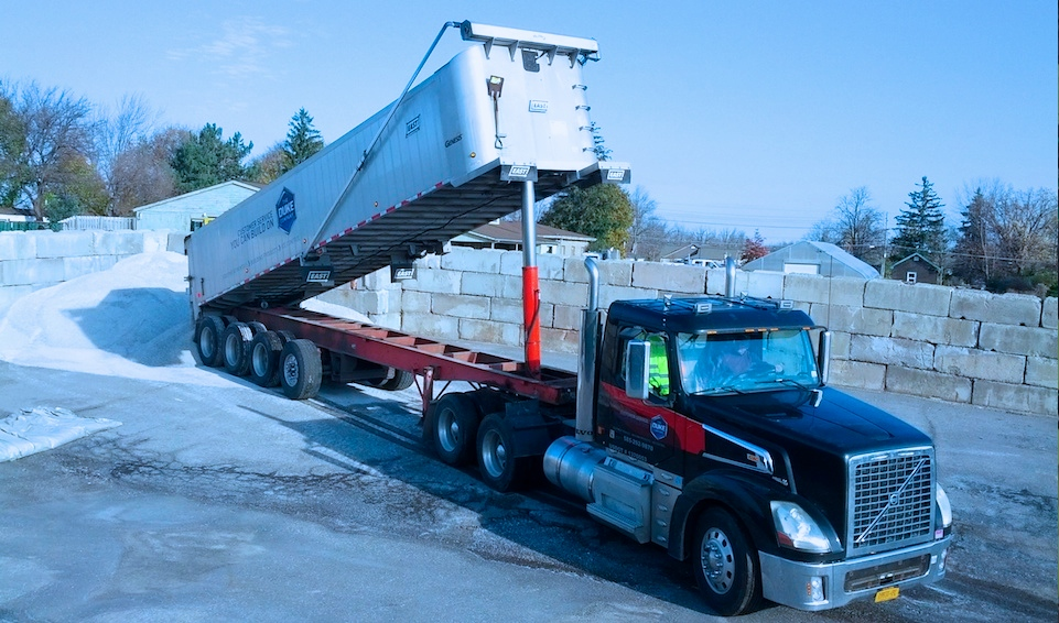 Picture of 18 Wheel Truck Delivery Rock Salt and Ice Melt in NY