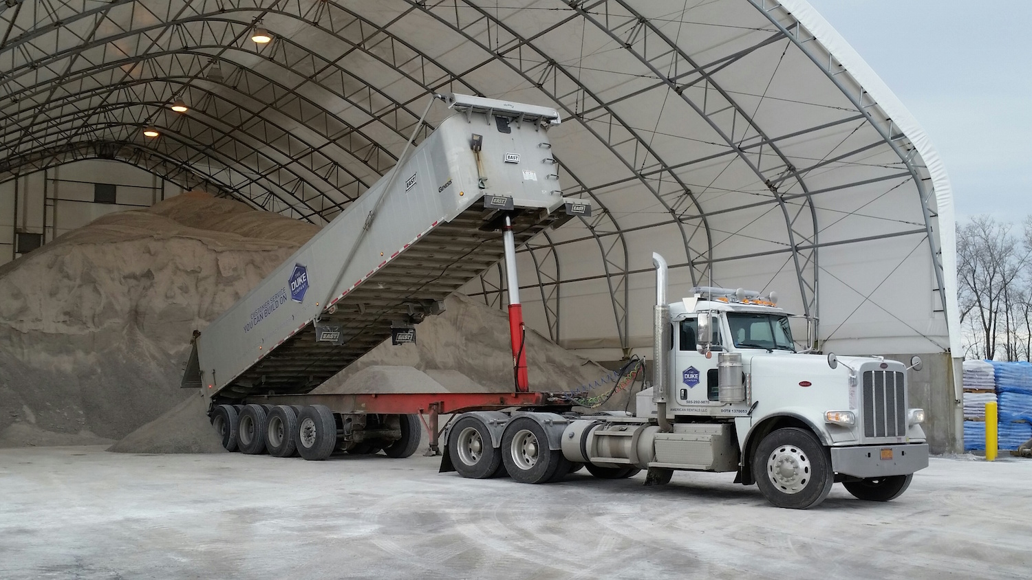Duke Company 18 Wheeler Rock Salt Truck loading Road Salt in Rochester NY 2